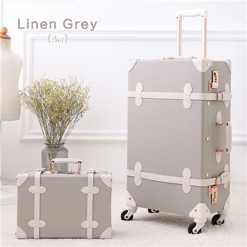 Uniwalker Grey 12''20''22''24''26'' Retro Rolling Luggage Trolley Bagage On Spinner Wheels Travel