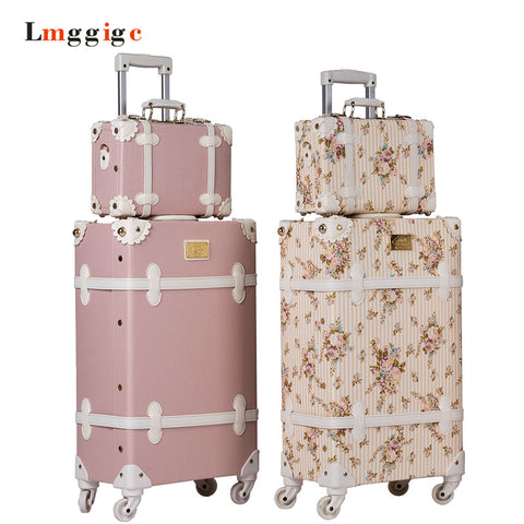 Vintage Luggage Bag,Pu Leather Suitcase Travel Box,Women Universal Wheel Carrier,High Qualit