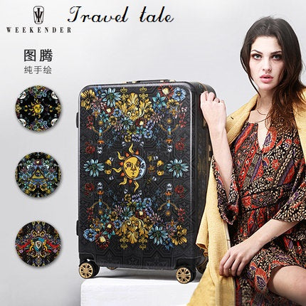 Travel Tale Hand Painted Retro Print 20/24/26Inch Size Abs+Pc Rolling Luggage Spinner Brand