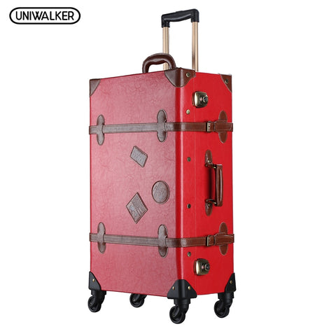 "Uniwalker 20""-26""Red Vintage Suitcase Pu Leather Travel Suitcase , Scratch Resistant Rolling"