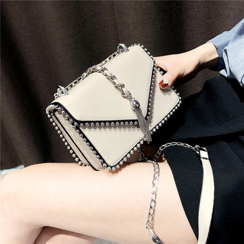 British Fashion Simple Small Square Bag Women'S Designer Handbag 2018 High-Quality Pu Leather Rivet