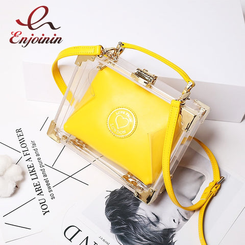 High Quality Stylish Acrylic Clear Box Shape Leather Women'S Handbag Shoulder Bag Casual Totes