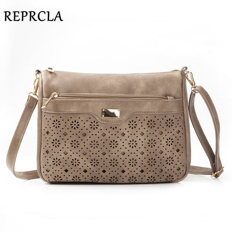 Reprcla New Double Zipper Women Messenger Bags Hollow Pu Leather Shoulder Bag Female Crossbody