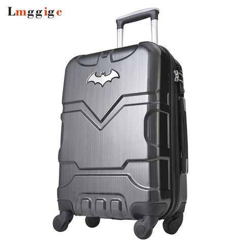 "Kid Batman Rolling Luggage Suitcase Bag,Wheels Carry On With Lock,20""24""28""Inch High-Capacity"