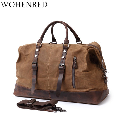 Carry On Luggage Men Travel Bags Waterproof Canvas Mens Duffle Bag High Quality Leather Large