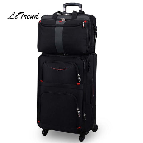Letrend Business Rolling Luggage Spinner Set Travel Bag Trolley Men Oxford 20 Inch Student Carry On