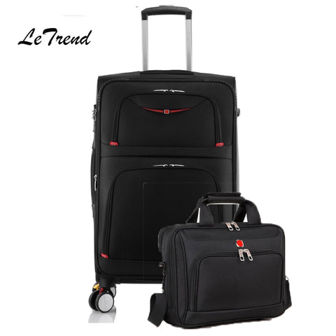 Letrend Rolling Luggage Set Spinner Multifunction Trolley Suitcases Wheel Travel Duffle Business