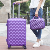 Women Luggage Bag Set,Diamond Pattern Suitcase With Handbag,Fashion Rolling Travel Box,Universal