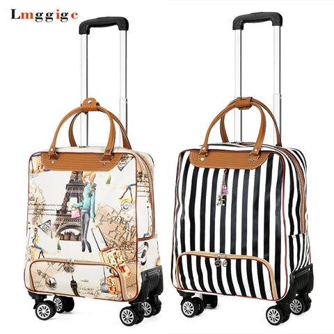 Women Rolling Luggage Bag, Cabin Travel Suitcase,Lightweight Trolley Case,Fashion Carry-Ons