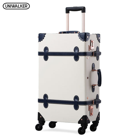 Uniwalker Unisex 12''20''22''24''26'' Pu Leather Vintage Rolling Luggage Retro Trolley Carry On