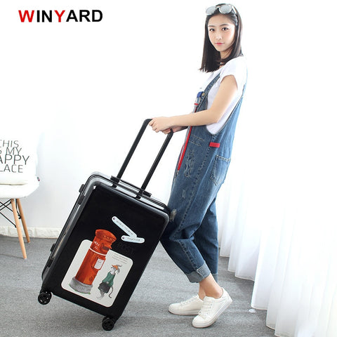 Wholesale!20 24Inches Europe Fashion Uk Post Mailbox Rolling Luggage For Girl,Vintage Red Abs+Pc