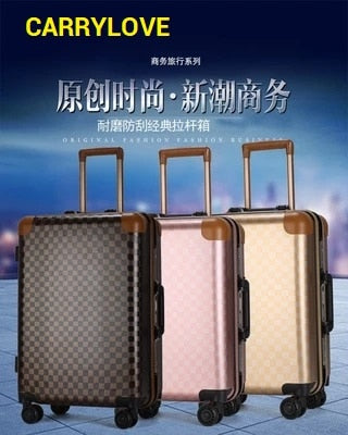 Carrylove Classic Grid Luggage Series 16/20/22/24 Inch High Quality  Pc Rolling Luggage Spinner