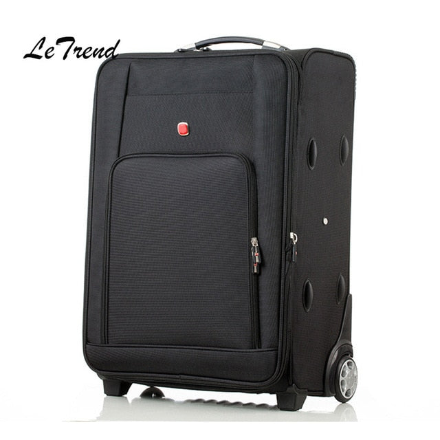 Letrend Classic Rolling Luggage Spinner Fashion High-Grade Wheel Suitcase Oxford Trolley Men