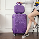 Hello Kitty One Set Abs Pc Luxury Women Rolling Luggage Suitcase Designer 20 Inches High Quality