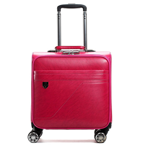 Letrend Pu Leather Women Rolling Luggage Spinner 16 Inch Carry On Trolley Travel Bag Women'S