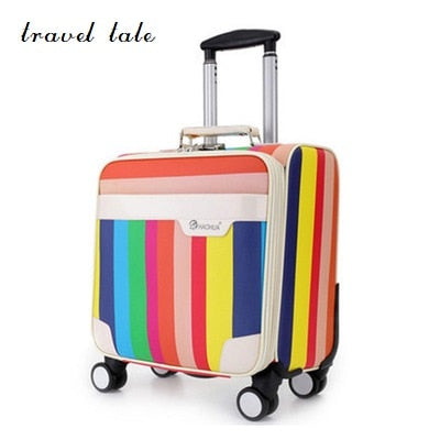 "Travel Tale The Colours Of The Rainbow Pu 18""  Rolling Luggage Spinner Brand Travel Suitcase"