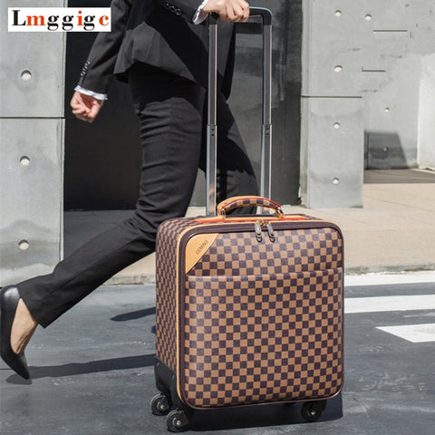 Women Classic Rolling Luggage,Men Travel Suitcase Bag,Wheels Carry-On ,High Quality Pu Leatherm
