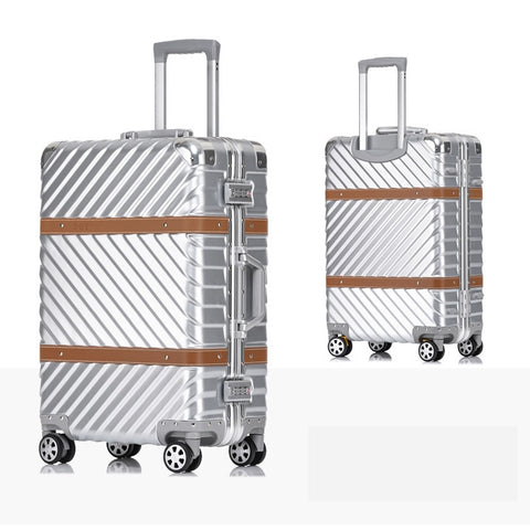 "Metal Wrap Angle Pc Koffer Suitcase With Wheels 20""24""26""29""Travel Trolley Case Hardside Rolling"