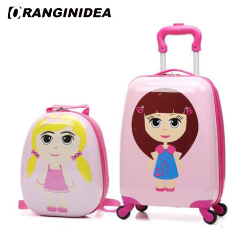 "18"" Kids Luggage Set Cartoon Animal Rolling Spinner Luggage Children Suitcases Wheel Trolley Travel"