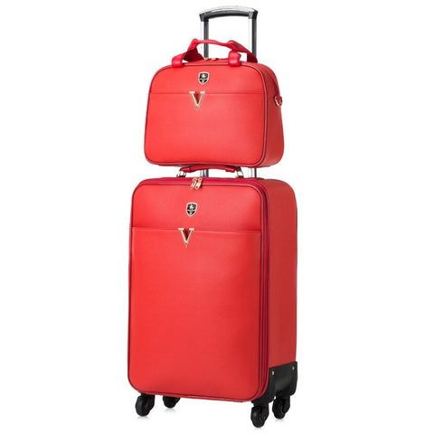 Red Leather Case Married The Box Trolley Luggage Picture Box Universal Wheel Luggage Travel Bag