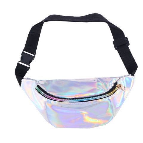 Fashion Holographic Pu Leather Shinning Fanny Pack Waist Packs For Women Girls