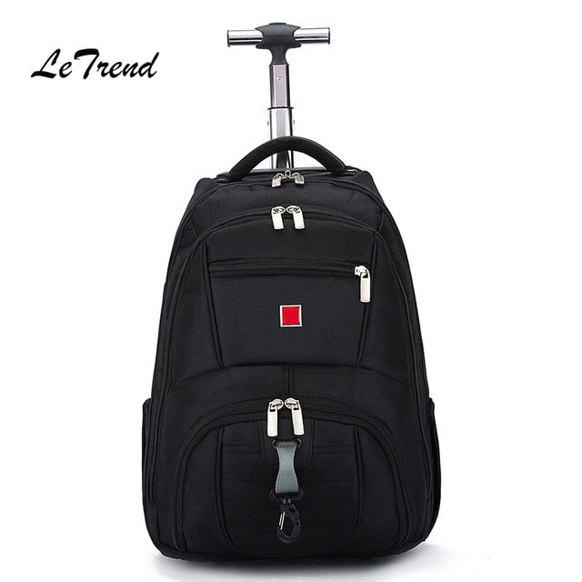 Letrend Business Oxford Travel Bag Men Large Capacity Backpack Women Rolling Luggage Trolley Case