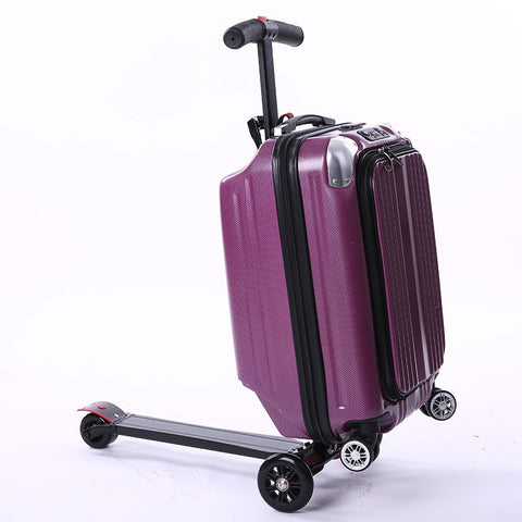2018 Multi-function 21 inches boy scooter suitcase creative PC trolley case 3D extrusion business Travel cool luggage business