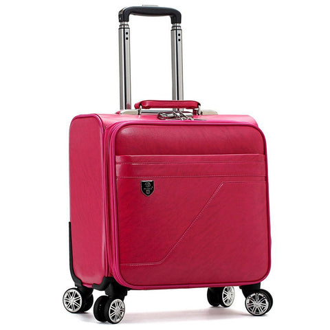 New Fashion Pu Suitcase Trolley Luggage Male Female Universal Wheels Aluminium Alloy Rod Trolley