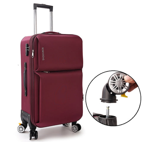 Universal Wheels Trolley Luggage Canvas Travel Bag Small Soft The Box20 22 24 26 Canvas Bags,Braked
