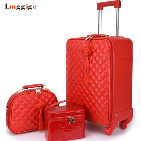 "Women 'S Travel Rolling Luggage Suitcase Bag Set,Red Waterproof Pu Leather Bag With Wheel ,20""24"""