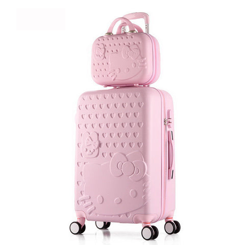 2 Pcs/Set Beautiful 14-Inch Hello Kitty Cosmetic Bag 20 24 28Inch Students Travel Luggage Trolley