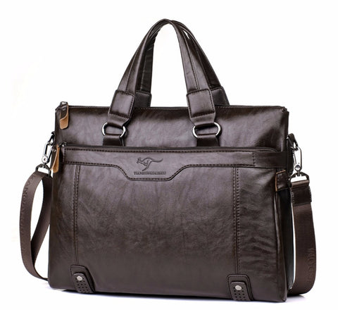 "Men Business Leather Briefcase Shoulder Messenger Bag For 14"" Laptop Men'S Crossbody Briefcase Bags"