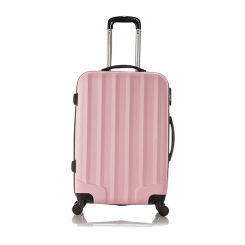 Fggs Set Of 1 Piece Travel Luggage 4 Wheels Trolleys Suitcase Bag Hard Shell Color Pink