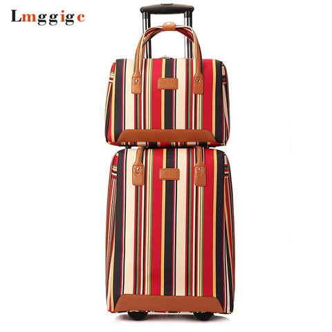 Women Rolling Luggage Bag ,Oxford Cloth Travel Suitcase With Handbag,Trolley Case ,Wheel