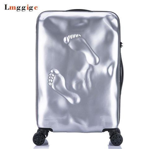 Vintage Rolling Luggage Suitcase Bag,Pc Travel Trolley Case With Footprints,Fashion Wheel