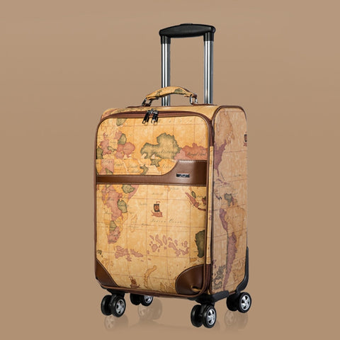 "Wholesale!20"" 24""Retro Vintage Pu Leather Travel Luggage Bags On Universal Wheels,Male And Female"