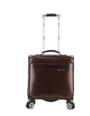 "17""Pu Leather Women Travel Luggage Bag Men Trolley Bag Wheeled  Spinner Trolley Suitcase Men"