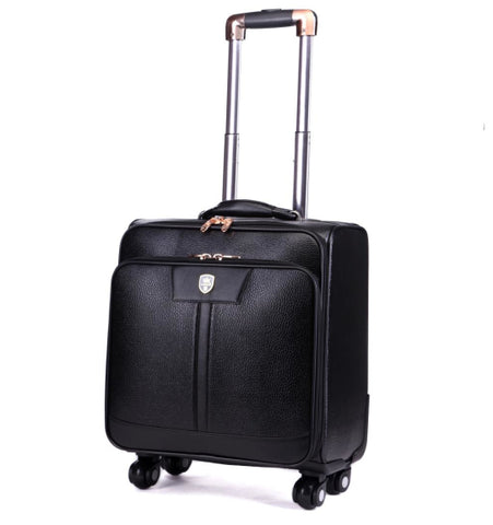Universal Wheels Trolley Luggage Travel Bag Code Case 16 20 24 Luggage Leather Bags,High Quality Pu