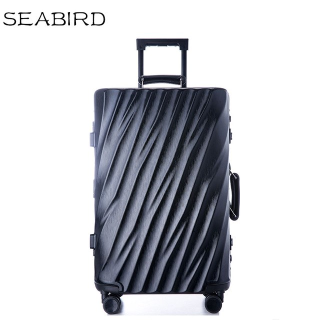 Seabird Aluminum Frame Travel Suitcase With Wheels Tsa Lock Trolley Case Scratch Resistant