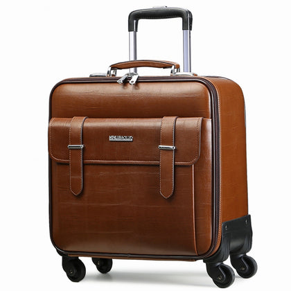 Quality Leather Trolley Luggage Travel Bag16 18 20 22 24 Commercial Universal Wheels Cow Split