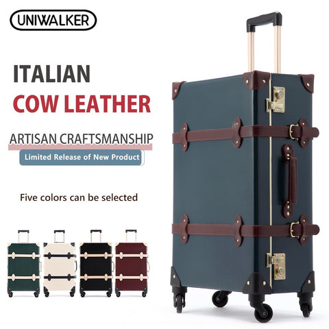 Uniwalker 20 22 24 Inch Cow Leather Luggage  Genuine Leather Vintage Travel Suitcase Classic