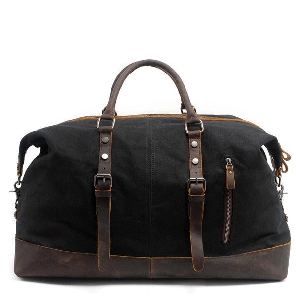 Mco Vintage Waxed Canvas Men Travel Duffel Large Capacity Oiled Leather Military Weekend Bag