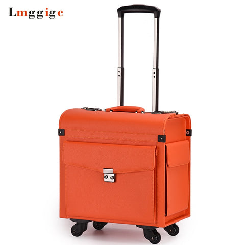 Rolling Cabin Luggage,Flight Attendants Travel Suitcases,Commercial Computer Bag,Password Box,Pu