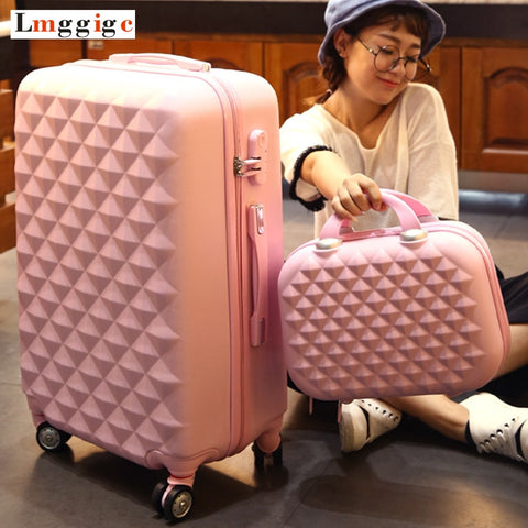 Abs Hardside Rolling Luggage Set With Handbag,Women Travel Suitcase Bag With Cosmetic
