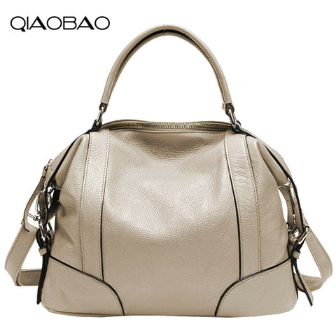 Qiaobao 2018 New Europe 100% Natural Leather Handbags Ladies Shoulder Bag Real Leather Bag