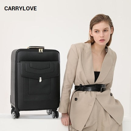Carrylove Fashion Luggage Series 16/20/24 Inch Size Pu Noble Rolling Luggage Spinner Brand Travel