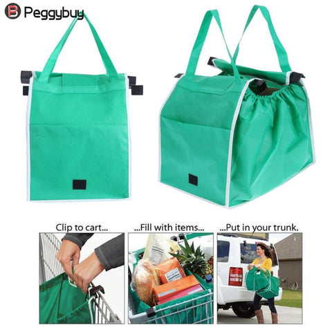 1Pcs/2Pcs Shopping Bag Foldable Tote Eco-Friendly Reusable Large Trolley Supermarket Large Capacity