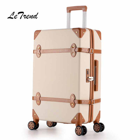 Letrend Women Suitcases Wheel Trolley Rolling Luggage Spinner Vintage Travel Bag Student Carry On