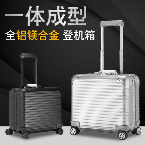 100% Full Aluminum Rolling Luggage 18 Inch Valise Cabine Custom Luggage Business Trolley Min