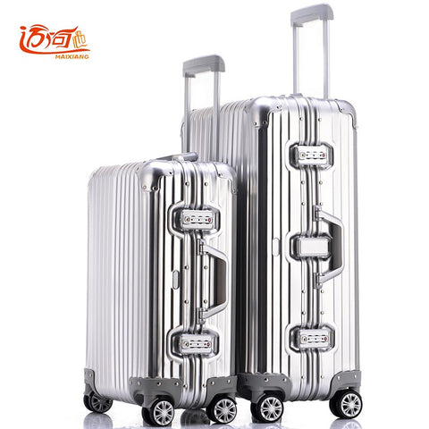 100% Fully Aluminum-Magnesium Alloy Travel Trolley Luggage 20/25 Inch Female Male Suitcase Carry On